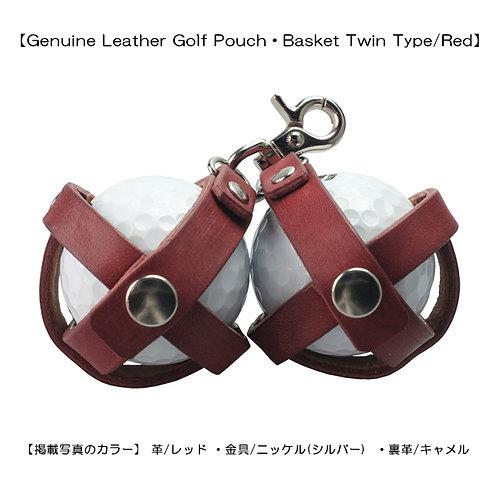 【本革製ゴルフボールポーチ・バスケット式ツインタイプ/レッド】