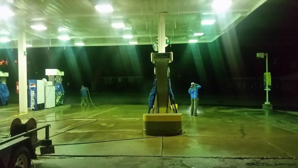 commercial pressure washing, service station job, washington PA