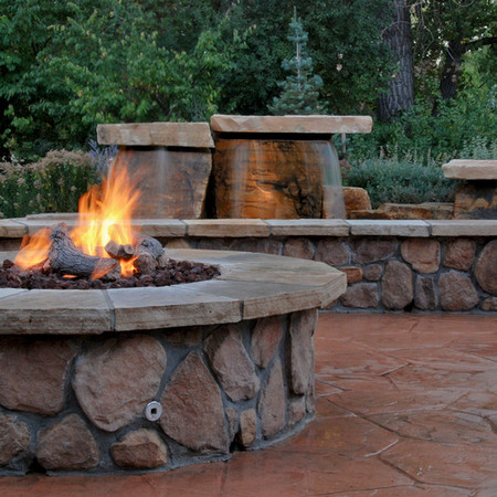 Stone fire pit and water feature