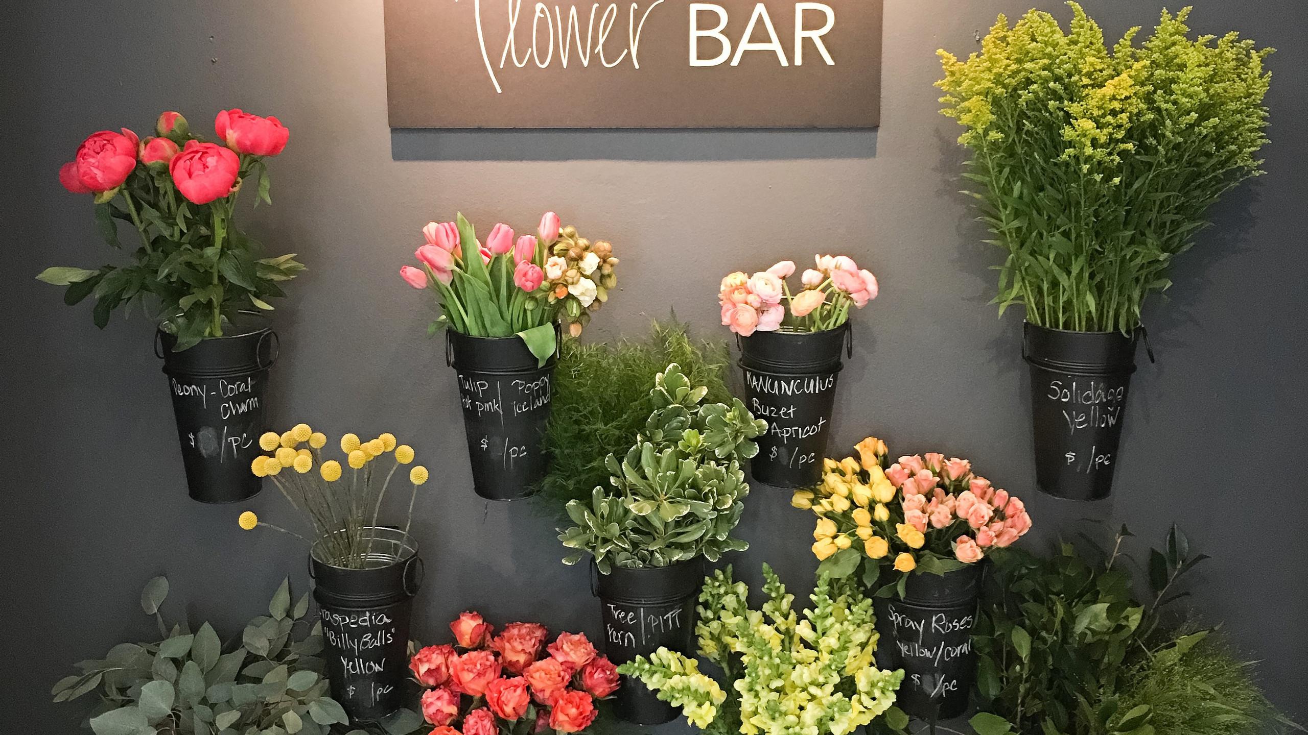 Franzie's Flower Design Flower Bar in the River Oaks studio located in Houston, TX.