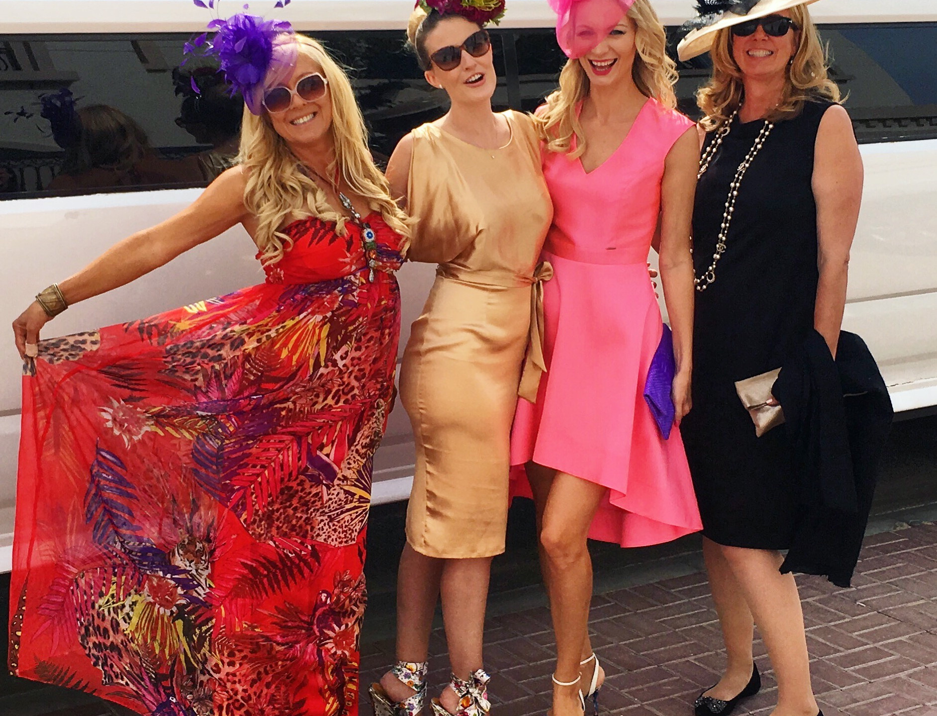 Ladies off to the Dubai World Cup. Franzie featuring her own flower hat by Franzie's Flower Design.