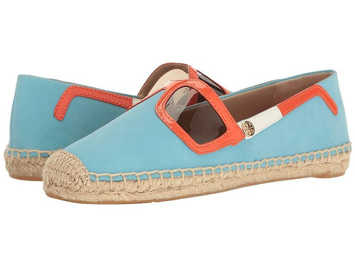 Tory Burch  Blue Sunny Sunglasses Leather Espadrilles Flats