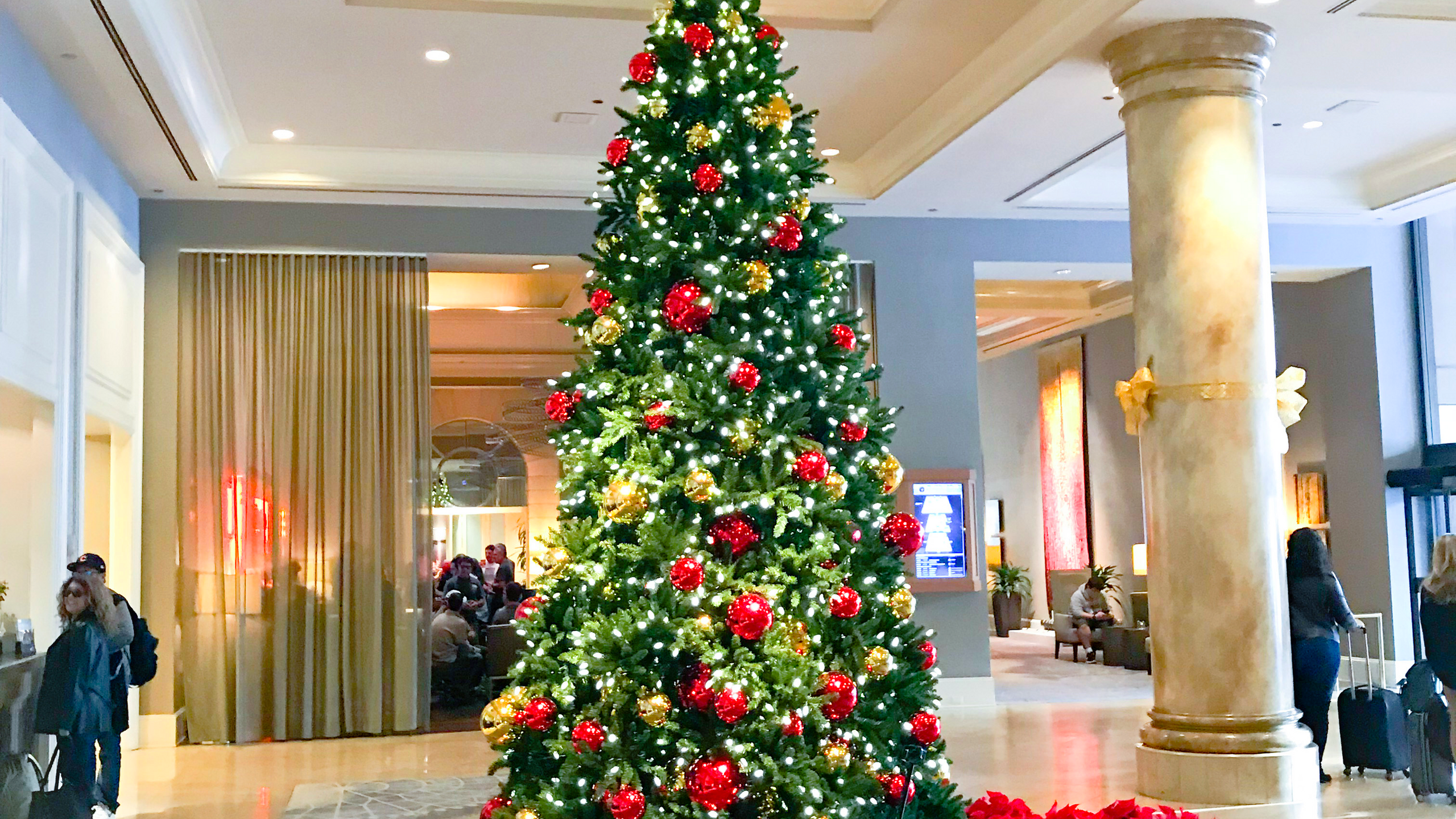 15 ft' Christmas tree designed by Franzie's Flower Design for the Fairmont Dallas hotel lobby.