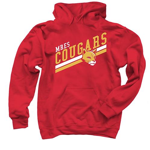 """Red Hoodie """"MRES Cougars"""" Diagonal"""