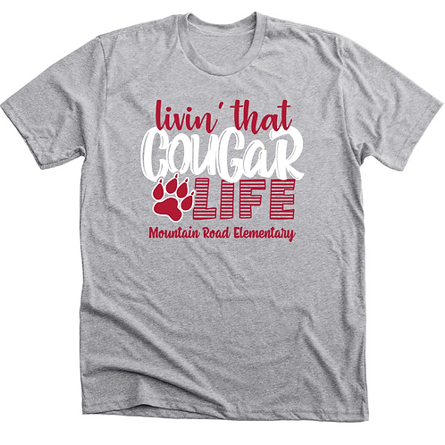 "Heather Gray T-Shirt ""Living that Cougar Life"""