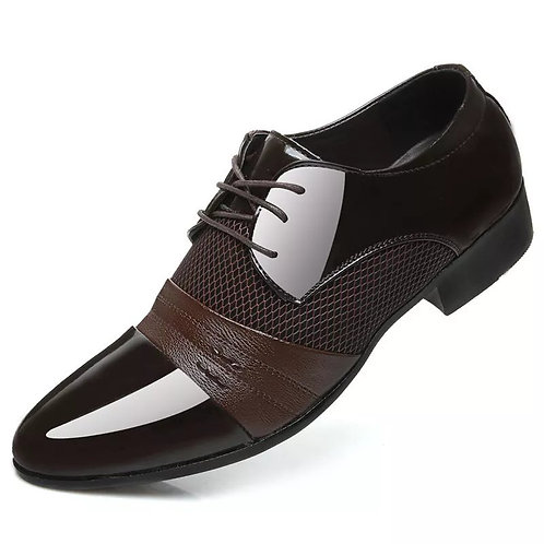Men's Leather Stitching Retro Breathable Pointed Shoes