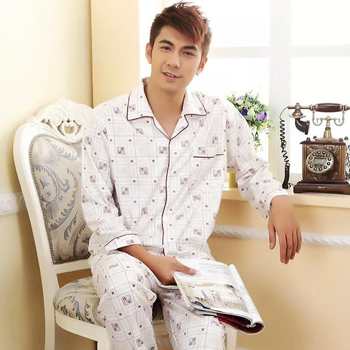 Men's Cotton Lattice Pajamas Long Sleeved Suit