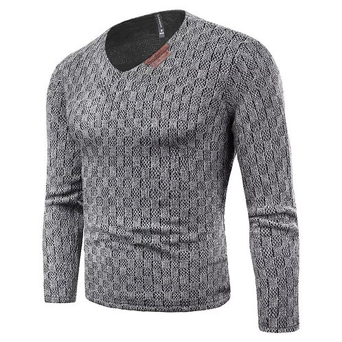 Mens Slim Fit Solid V-Neck Pullover Knitted Sweater