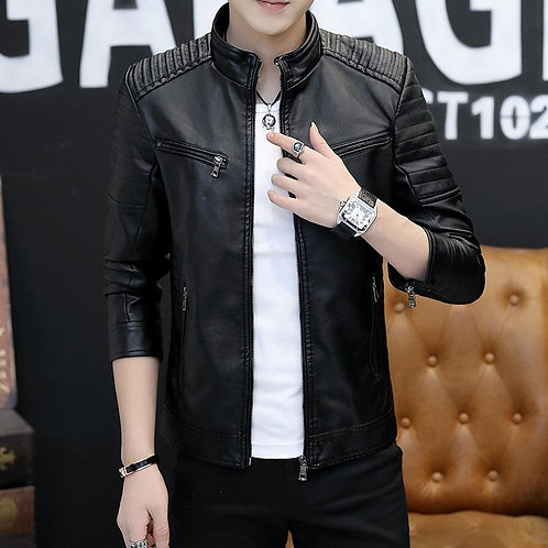 The Men Leather Version Trend Slim Pu Jacket Youth Handsome Leisure Wild Male Co