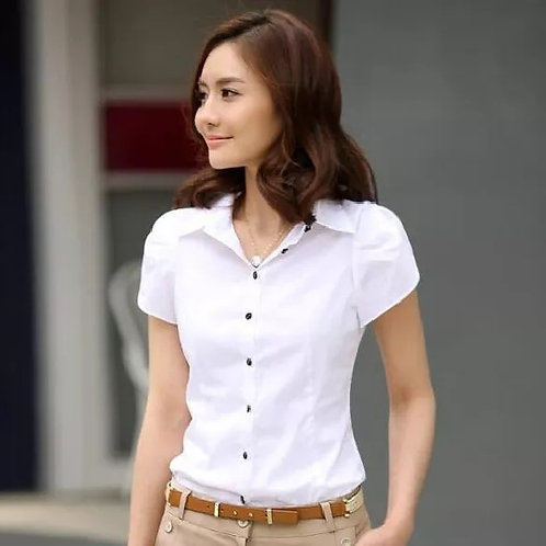 Clothing Casual Blouses Slim Career Short Sleeve Shirt Work Wear Tops