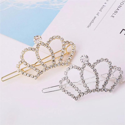 Fashionable And Simple Crystal Crown Hairpin