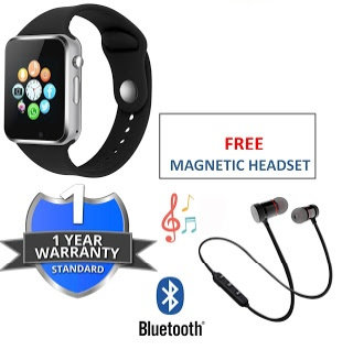 A1 Smart Watch Touchscreen with Camera/ Sim Card With Wireless Magnetic Bluetoot
