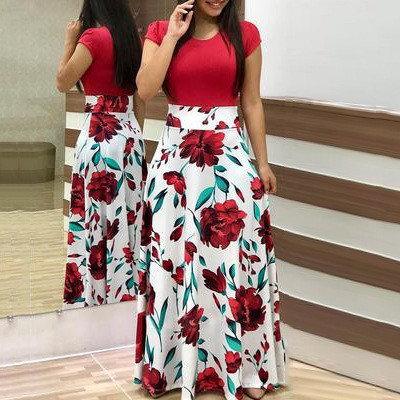 Flowers Printing Spell Dress For Women