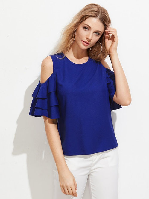 Klick2Style Imported Premium Fabric Open Shoulder Layered Bell Sleeve Top Candy