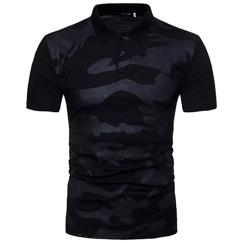 Spring And Summer New Men Camouflage Color Contrast Casual Lapel Polo Shirt