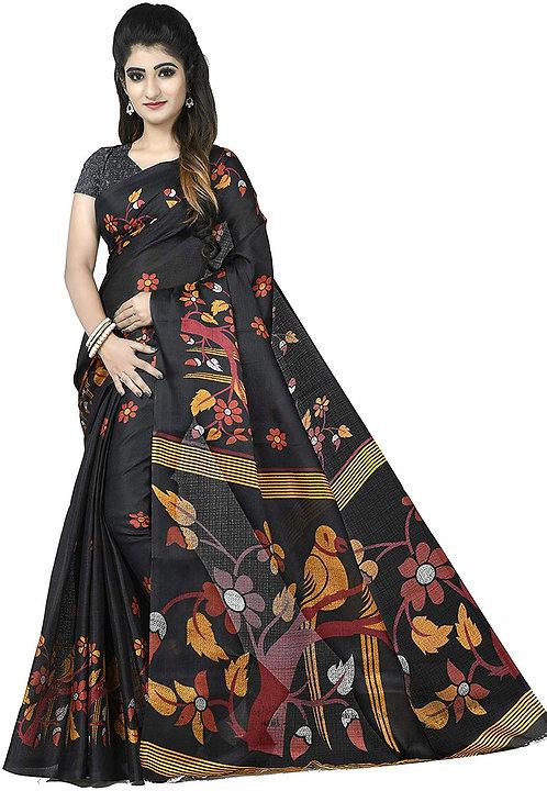 SVB Sarees Women's Bhagalpuri Silk Printed Saree With Blouse piece