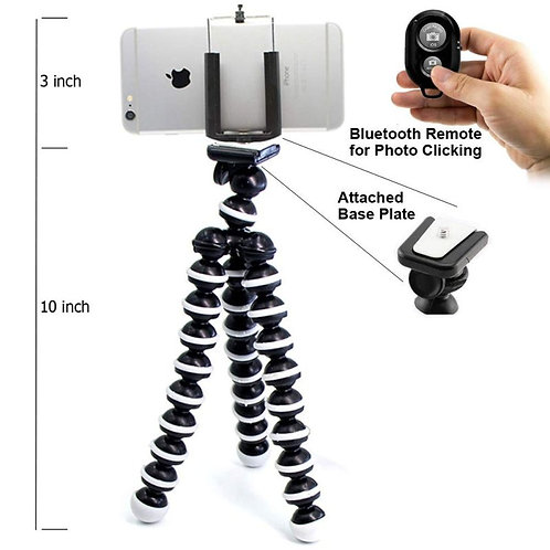 Starford Gorilla Tripod 10 Inch for Mobiles with Mobile Holder & Bluetooth Remot
