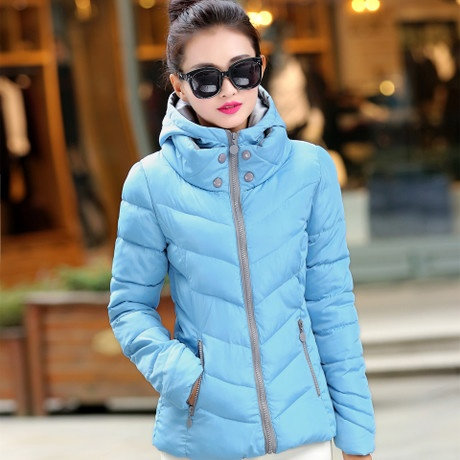 Ultra Light Hooded Down Cotton Jackets Slim Long Sleeve Parka Zipper Coats Pocke