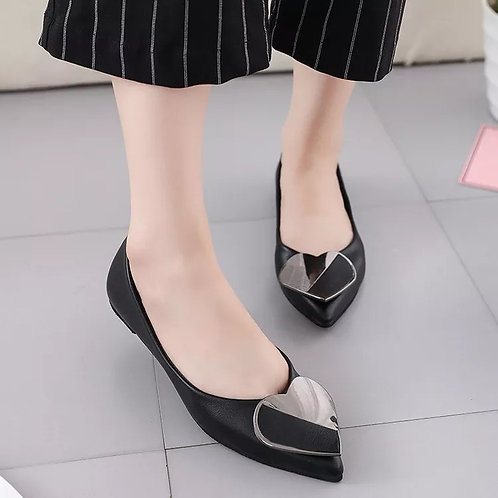 Sweet Flats Casual Dress Heel Pointed Toe Heart Decoration Shallow Mouth Single