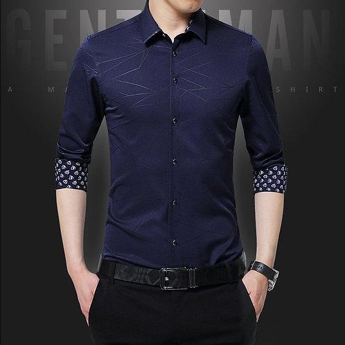 Bark Pattern Long Sleeve Shirt Men's Business Work