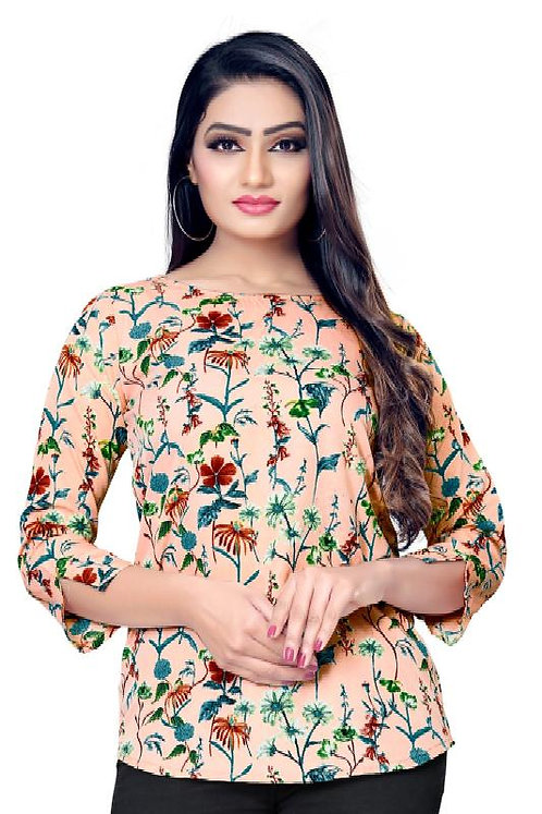 New Ethnic 4 You Women's Crepe Western Wear Floral Printed Plus Size Top