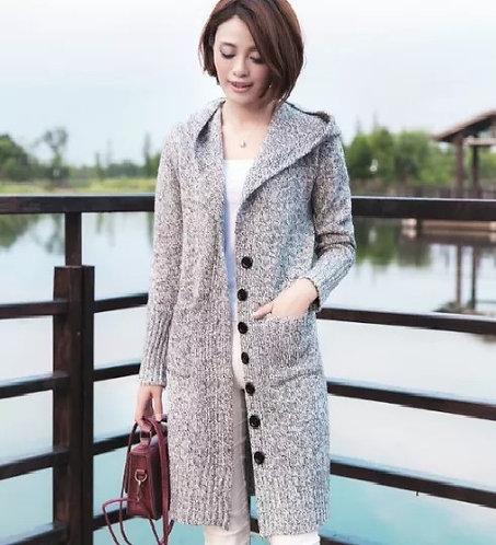 Korean Version Medium Long Hooded Single-breasted Large Pocket Cardigan Sweater