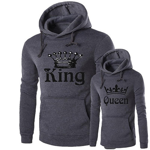 Fashion Hoodies Casual Sweatshirt Hooded Pullover Couple Print King Queen Tops