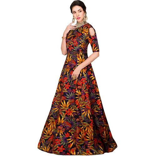 Aika Women Multicolor Banglory Satin Silk Semi-stitched Long Floral Printed Gown