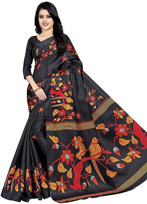 Leriya Fashion Banarasi Cotton with Blouse Piece Saree Black_One Size