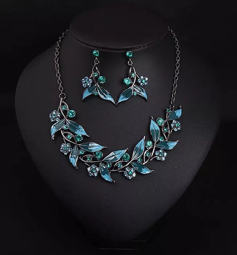 Crystal Leaf And Flower Jewelry Set