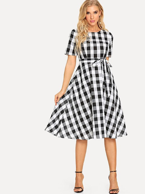 Vivient Black White Check Printed Tie Waist Fit & Flare Plaid Short Plus Size