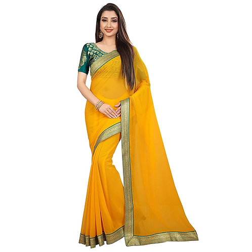 Anand Sarees Chiffon Solid Plain Saree With Lace Border And Unstitched Green