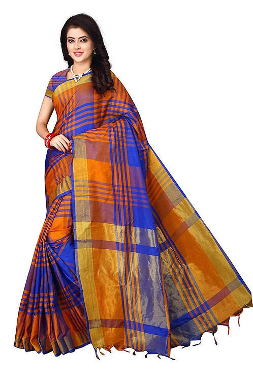 Dhruvi Trendz Women's Soft Cotton - Silk Solid Saree With Blouse Piece Material