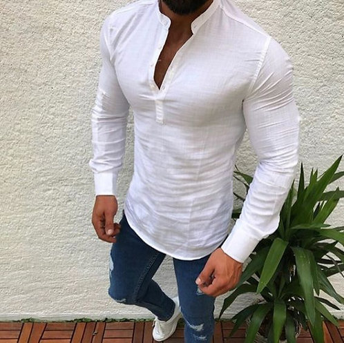 Men's Wear Plain Linen Long-sleeved Casual Half-open Collar Shirt