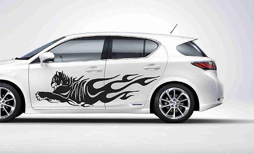 Decor Kafe Running Lion New- B Sides Windows Bumper Hood Car Sticker