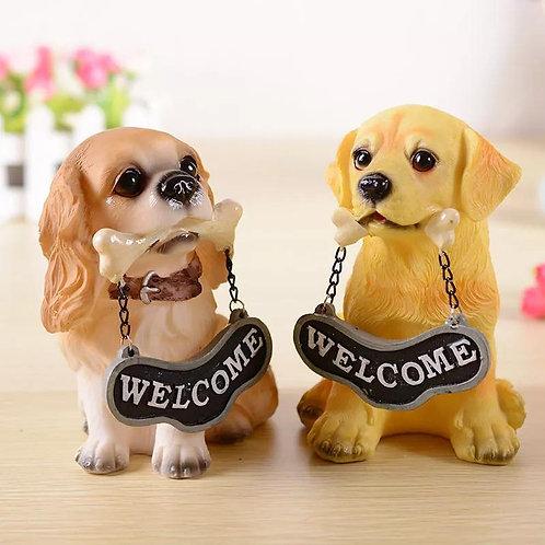 Resin Handicraft European Animal Welcome Card Dog Carving Casting Home Furnishin