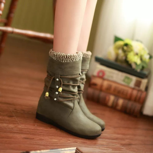 Outdoor Knight Knee Boots Flat Heels Round Toe Short Fur Shoes