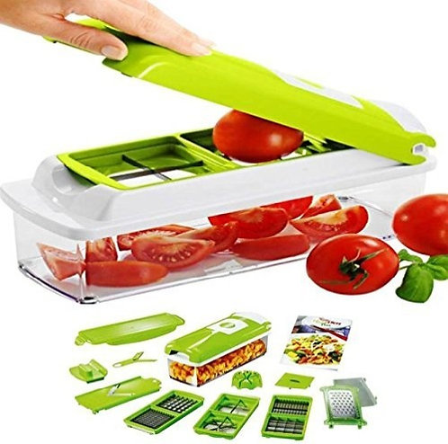 DEVOUT SALES 12 in 1 (Green) Multi Vegetable Cutter Fruit Slicer and Chopper