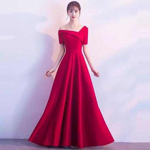 New wedding dress red one shoulder long evening dress