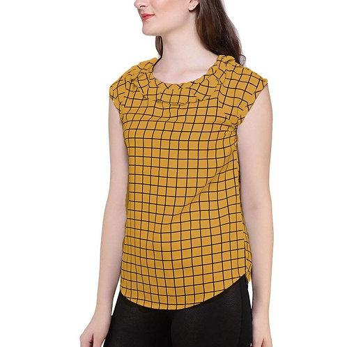 Casual Sleeveless Checkered Women's White Top