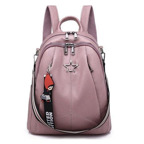 Double Shoulder Girl Pu Litchi Pattern College Schoolbag Version Simple Backpack