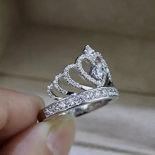Individual Diamond-studded Crown Ring