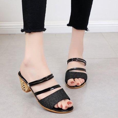 Version Sandals With Thick Heels Open Toes One Pair Of Shoes Two Pairs