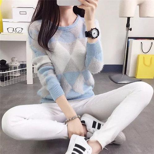 Long Sleeve Plaid Casual Sweater