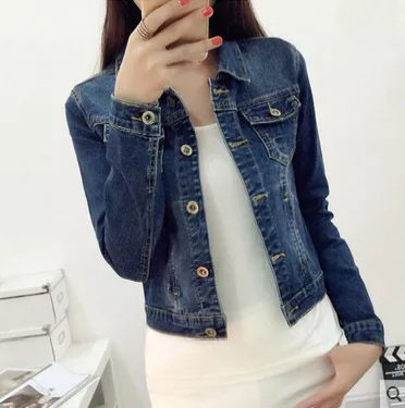 Short long sleeve denim jacket