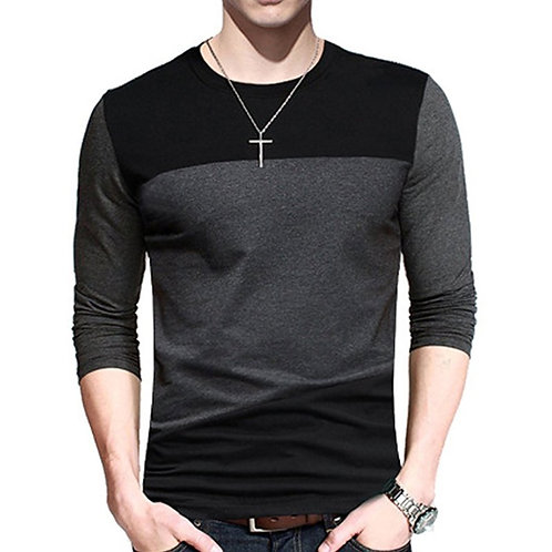 PAUSE Black Solid Cotton Round Neck Slim Fit Long Sleeves Men's T-Shirt