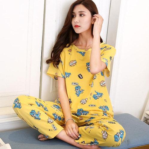 The Casual Leisurewear Female Han Edition Cute Cartoon Printing Easy Movement