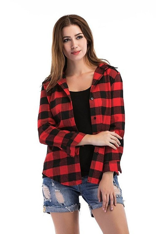Raabta Black and Red Printed Check Plus Size shirt For Women