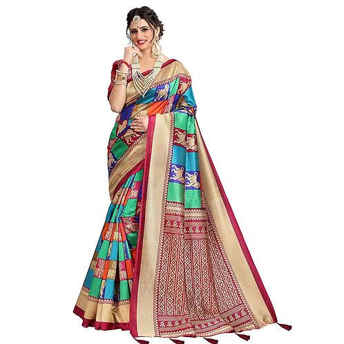 Being Banarasi Women's Dark Red Turquoise Silk Patola Printed Saree with Blouse