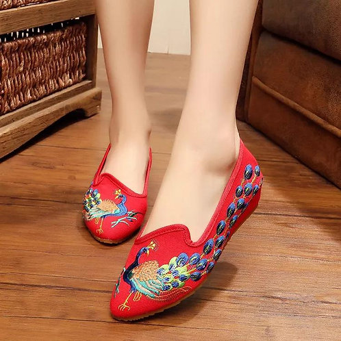 Old Beijing Mary Jane Flats Chinese Embroidered Cloth Shoes